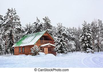 drewniany dom, w, zima, drewno