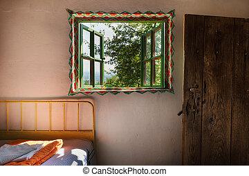 drewniany dom, wewnętrzny, stary