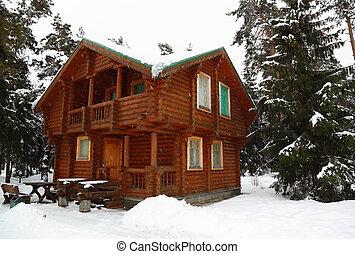 drewniany domek, w, zima, drewno