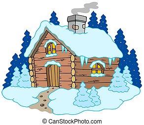 drewniany domek, zima krajobraz
