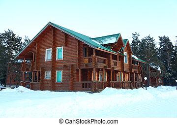 drewniany, domy, w, zima, las