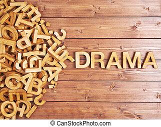 drewniany, dramat, robiony, słowo, beletrystyka