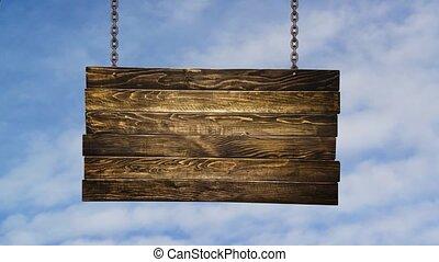 drewniany, drogowskaz, więzy, o, wisząc