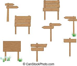 drewniany, drogowskazy, brązowy