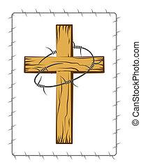 drewniany, drut kolczasty, chrześcijanin, krzyż