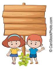 drewniany, dzieciaki, deska, dwa