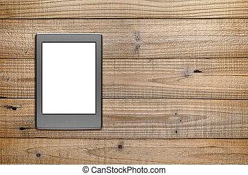 drewniany, e-książka, tło, czytelnik