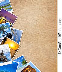 drewniany, fotografie, podróżowanie, tło