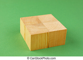 drewniany, geometryczny, sześcian, zielone tło