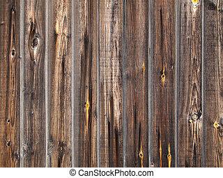 drewniany, grunge, deska, płot