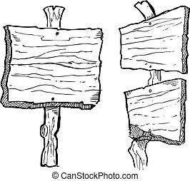 drewniany, grunge, deska