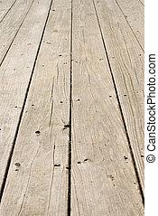 drewniany, grunge, paznokcie, stary, podłoga