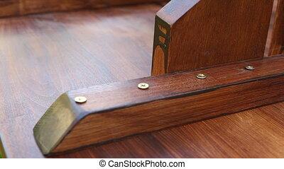 drewniany, handmade, stół.