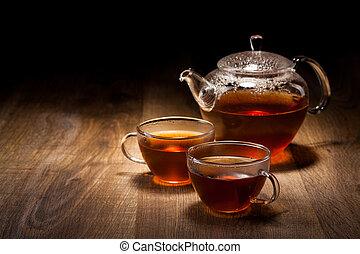 drewniany, herbata wystawiają, stół