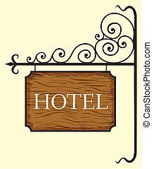 drewniany, hotel, drzwi, znak