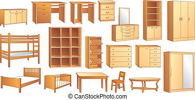 drewniany, illust, komplet, wektor, meble