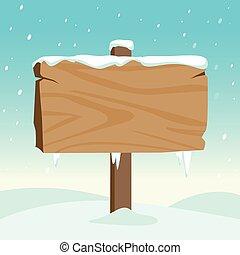 drewniany, ilustracja, znak, snow., wektor, czysty