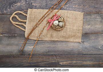drewniany, jaja, łuk, tło., nad, wielkanoc, gniazdo, czerwony, prospekt