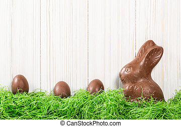 drewniany, jaja, czekolada, zielone tło, biały, trawa, ...