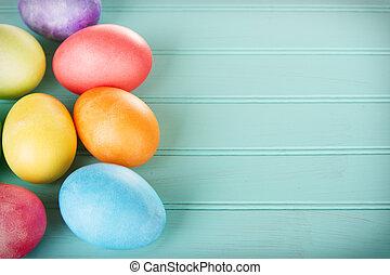 drewniany, jaja, wielkanoc, farbowany, poduszeczka