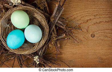 drewniany, jaja, wielkanoc, gniazdo, tło