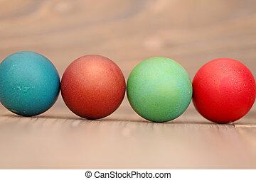drewniany, jaja, wielkanoc, tło