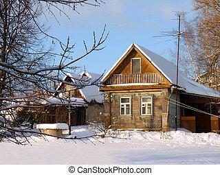 drewniany, kantor, w, russia., zima krajobraz