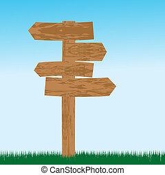 Drewniany, kierunki, opróżniać, znak