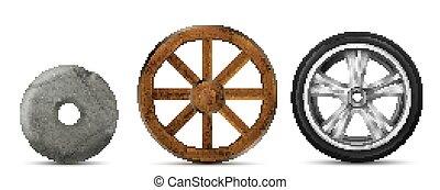 drewniany, koła, nowoczesny, kamień, rozwój