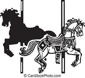 drewniany koń, cień, carousel