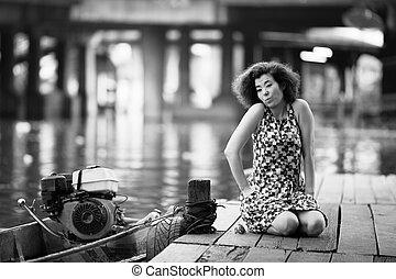 drewniany, kobieta, siada, rzeka, asian