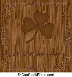 drewniany, koniczyna, liść