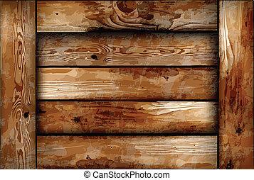 drewniany, kruchy, box., wektor, tło