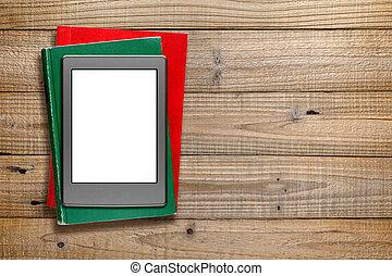 drewniany, książki, stary, tło, ereader
