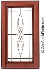 drewniany, kuchenny gabinet, drzwi, z, na, elegancki, szkło, odizolowany, na, wh