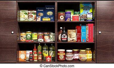 drewniany, kuchenny gabinet, spilśnijcie jadła, wyroby