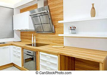drewniany, kuchnia, poziomy