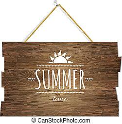 drewniany, lato, deska, czas