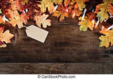 drewniany, liście, na, tło, upadek
