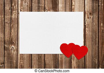 drewniany, list miłosny, dwa, tło, serca, karta