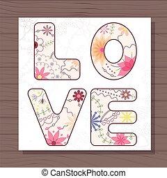 drewniany, miłość, karta, tło