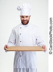 drewniany, mistrz kucharski, rąbiąca deska, dzierżawa, kok, samiec