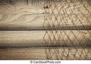 drewniany, netto, tło, wędkarski, struktura