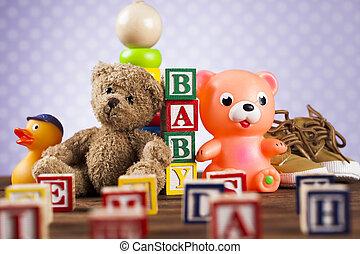 drewniany, niemowlę, tło, faszerowane zabawki