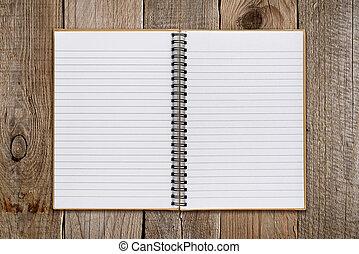 drewniany, notatnik, stary, tło