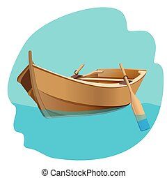 drewniany, odizolowany, ilustracja, wektor, wiosła, łódka, ...