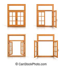 drewniany, okna, komplet, odizolowany, na białym, tło