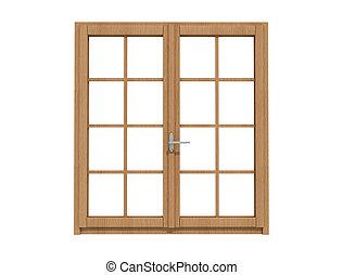 drewniany, okna