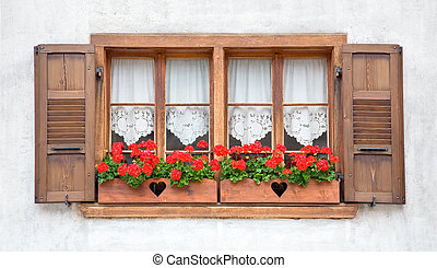 drewniany, okna, stary, europejczyk