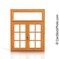 drewniany, okno, odizolowany, na białym, tło